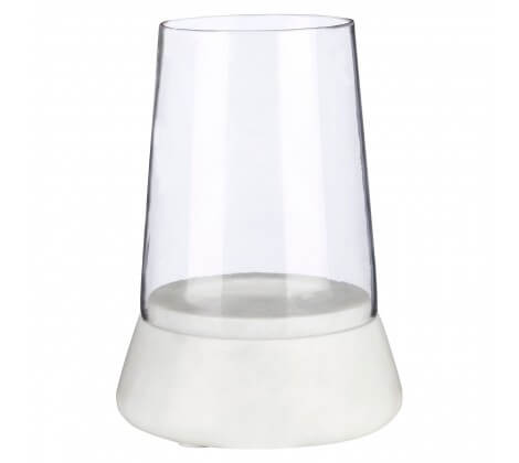 WI Marble Hurricane Candle Holder White