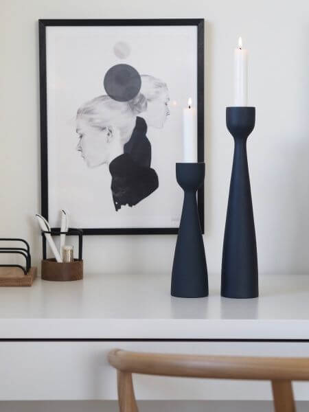 Coming Home Navy Urban Candlestick 24cm