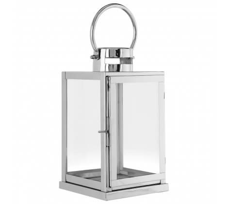WI Small Glass Lantern Stainless Steel