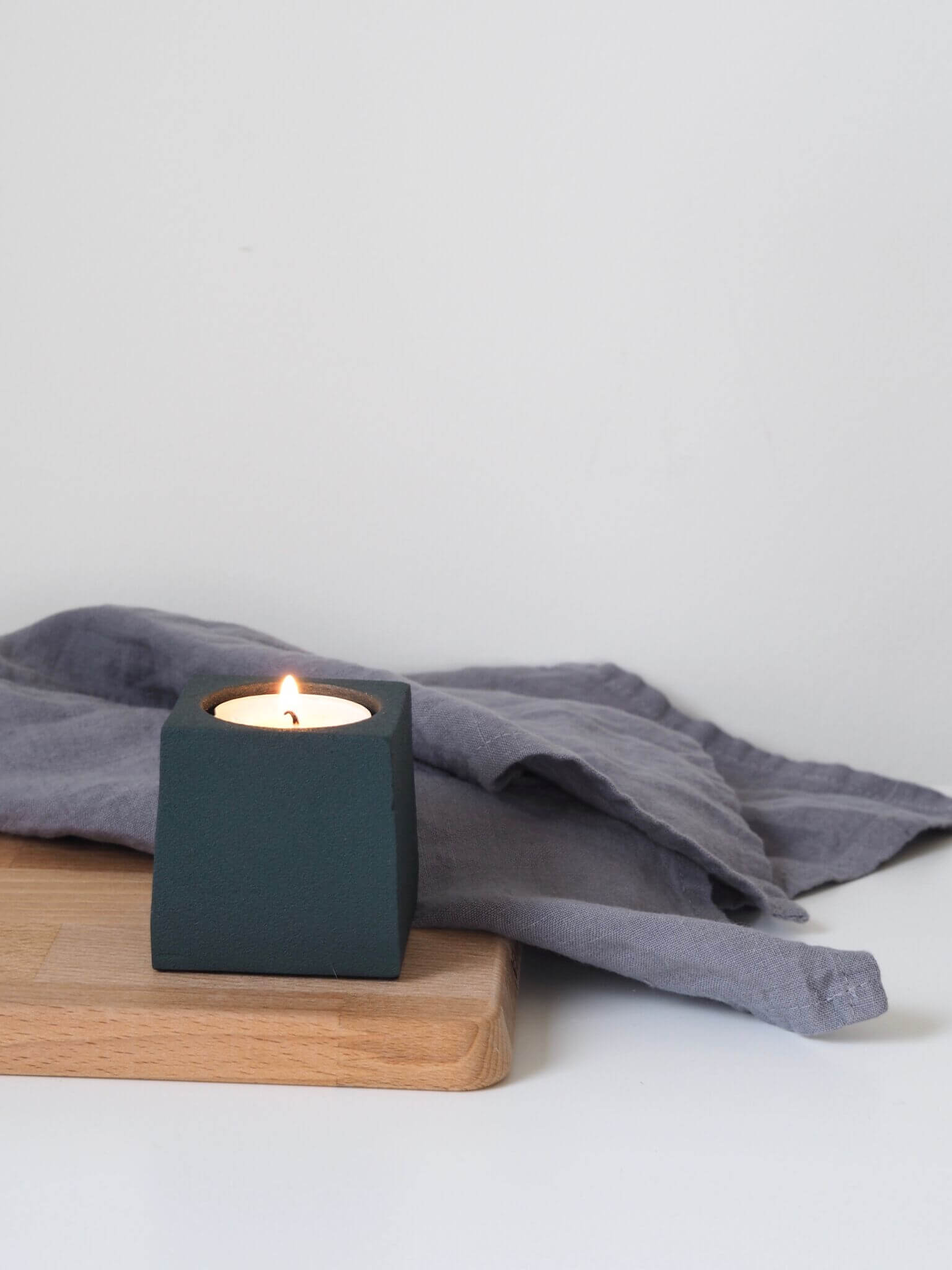 Coming Home Dark Green Cube Tea Light Holder