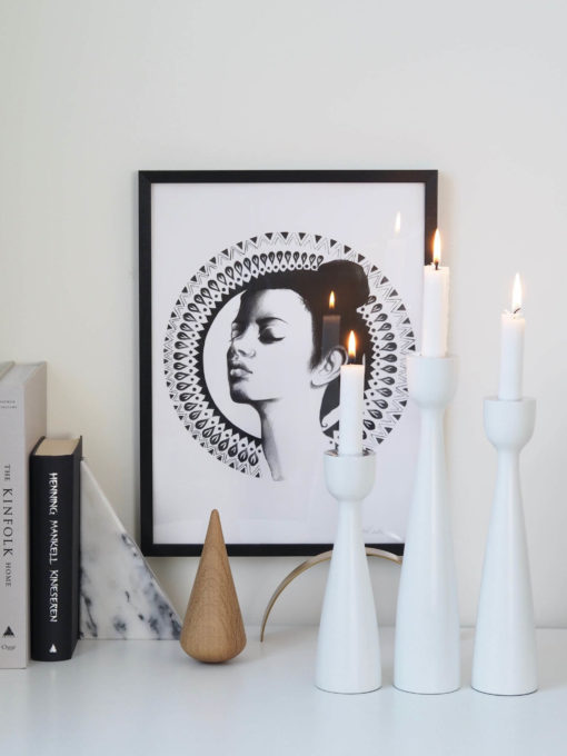 Coming Home White Urban Candlestick 33cm