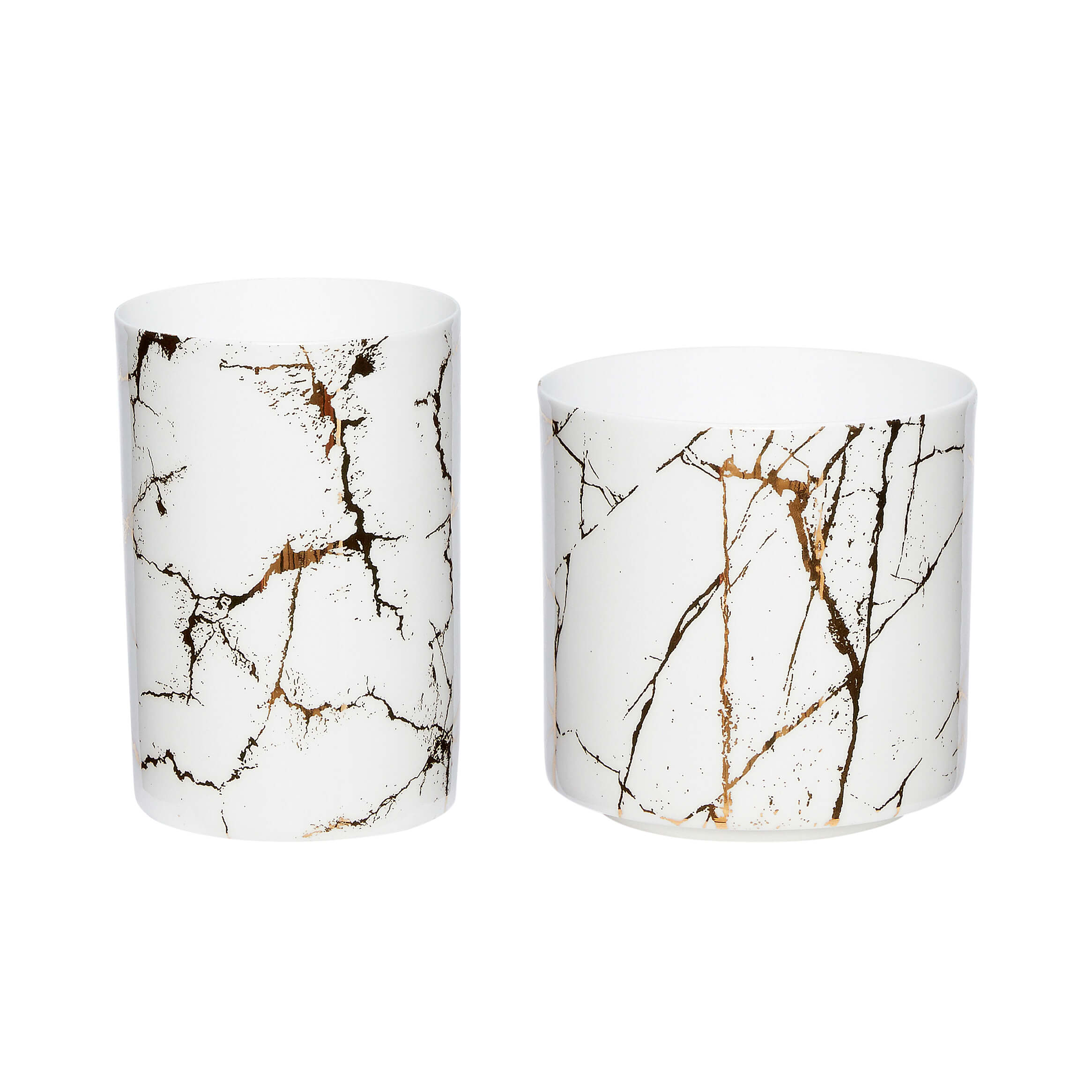 Hubsch Tealight Holder White/Gold Marble - set of 2