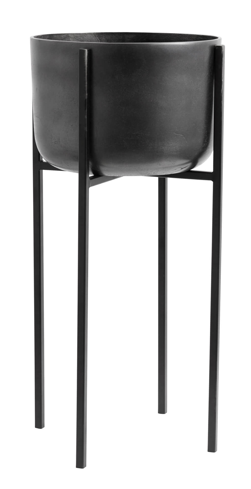Nordal Planter On Stand Large Black Oxidised