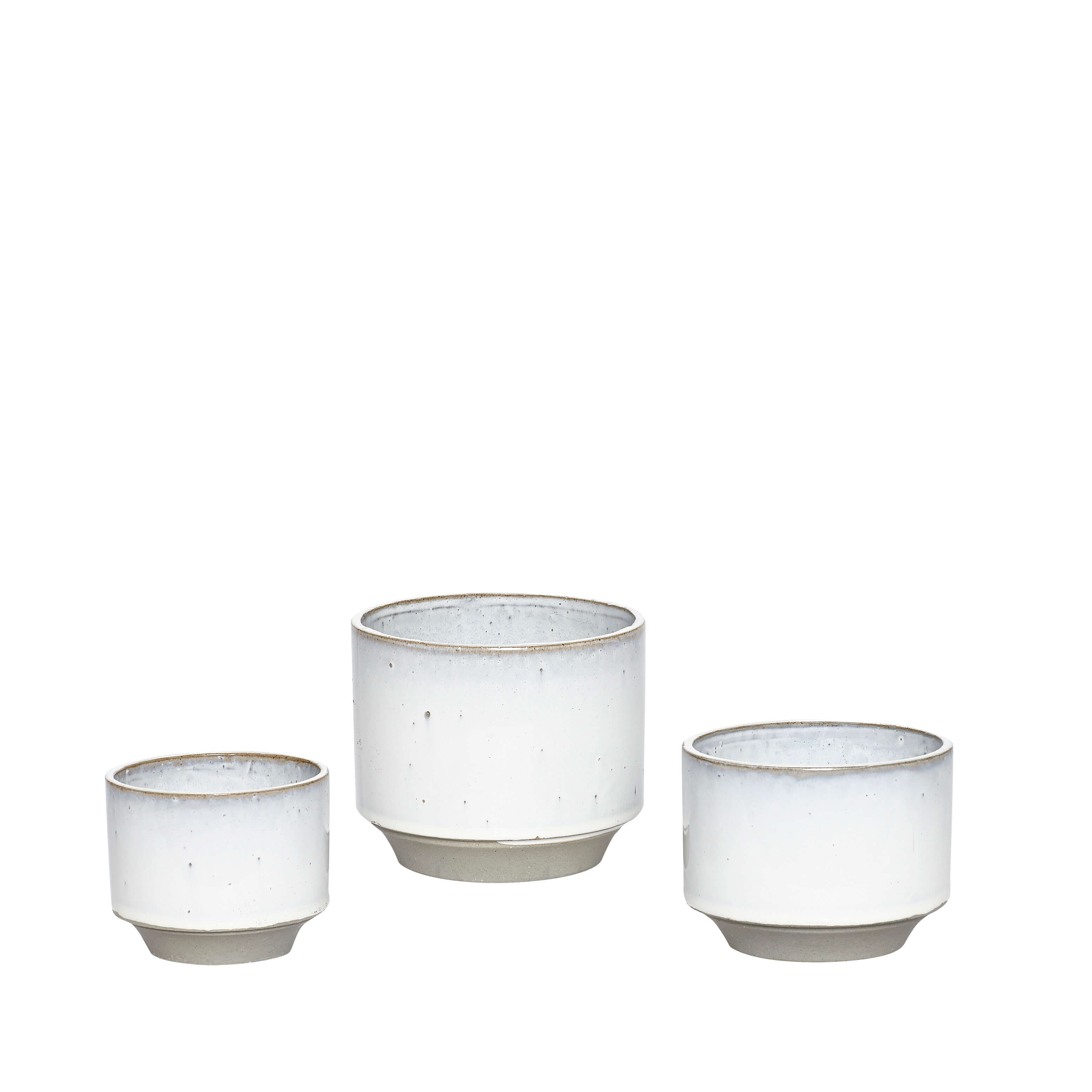 Hubsch Ceramic Pots Light Grey – set of 3
