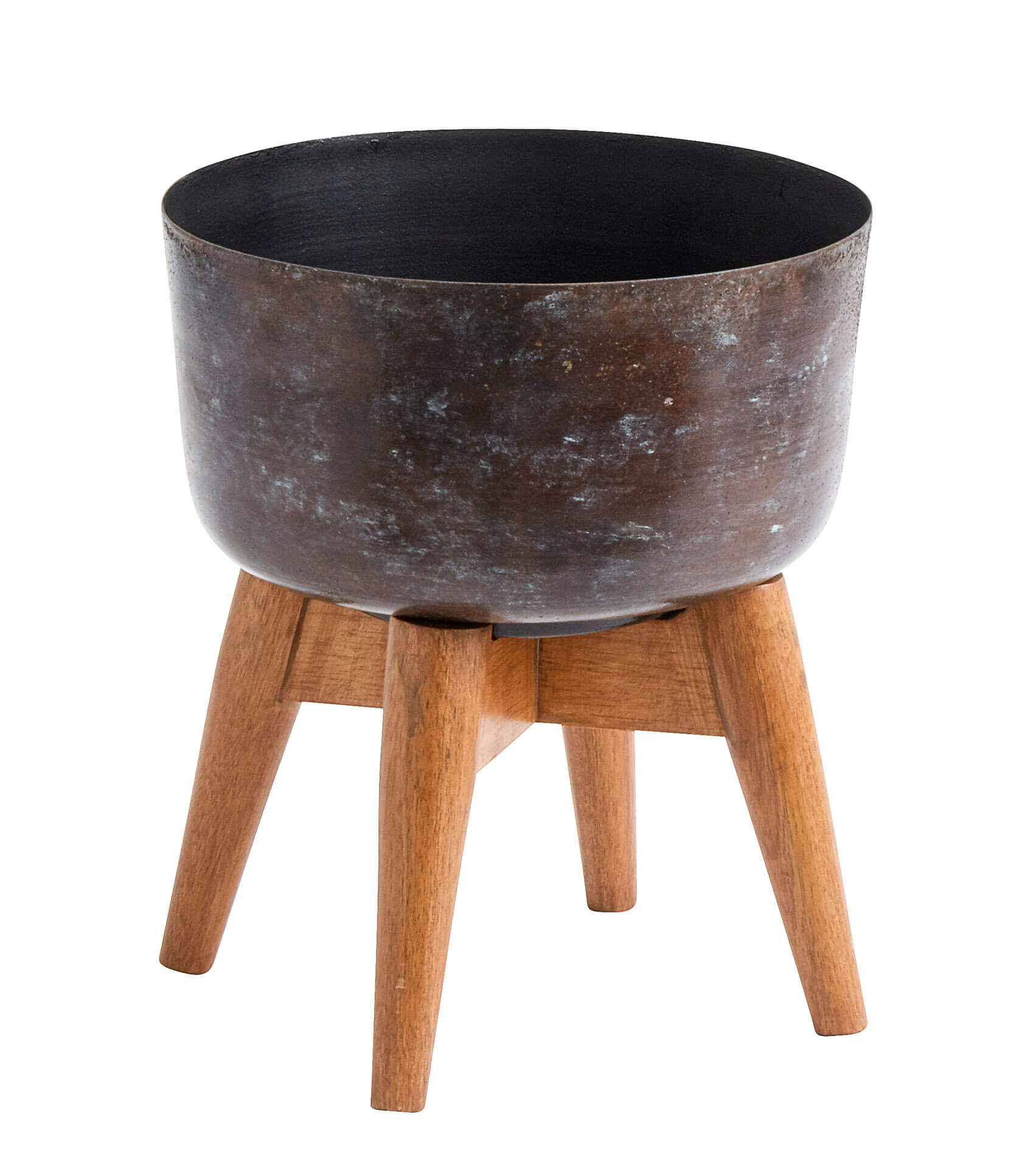 Nordal Planter On Stand Small Stained/Wood