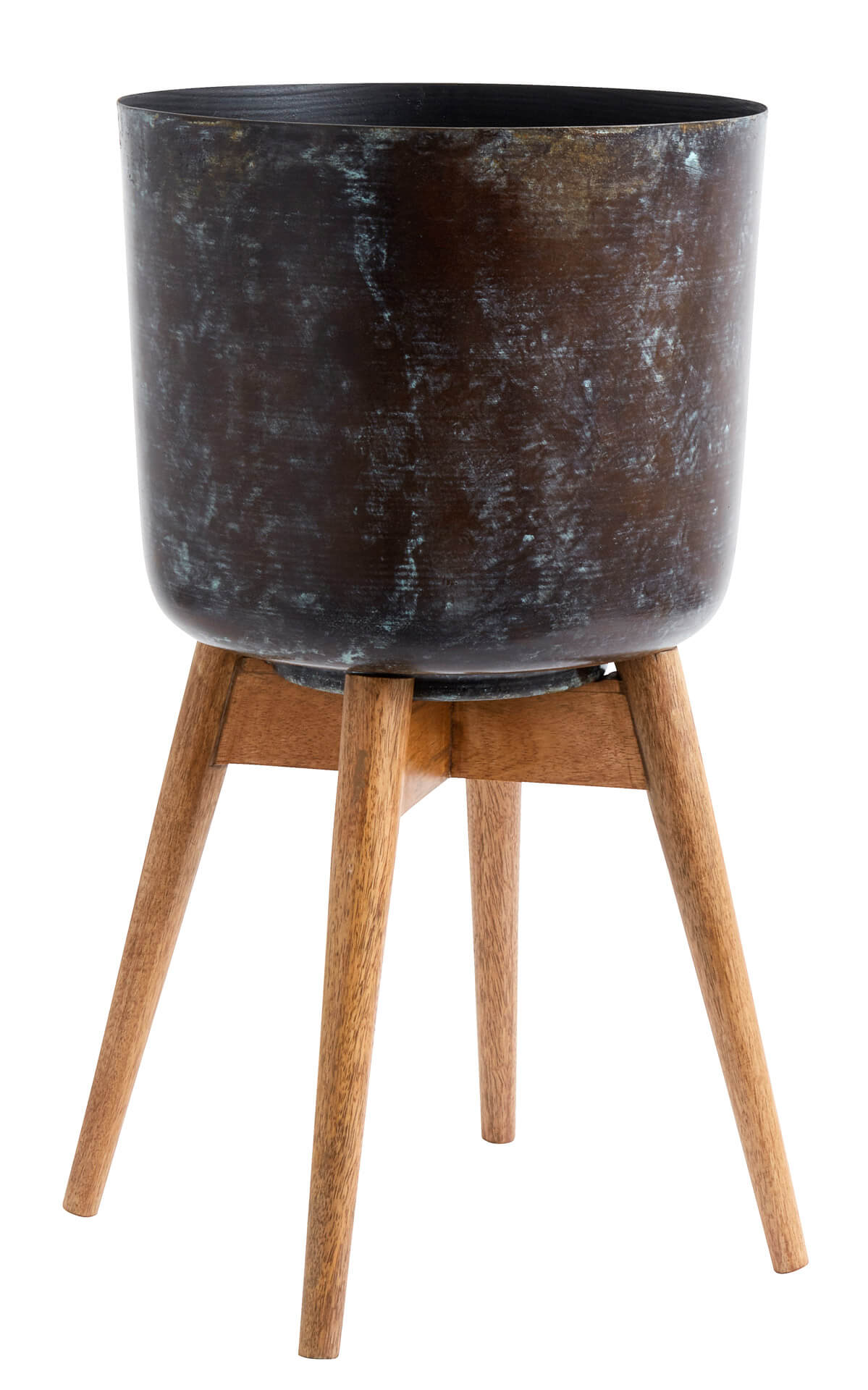 Nordal Planter On Stand Large Stained/Wood