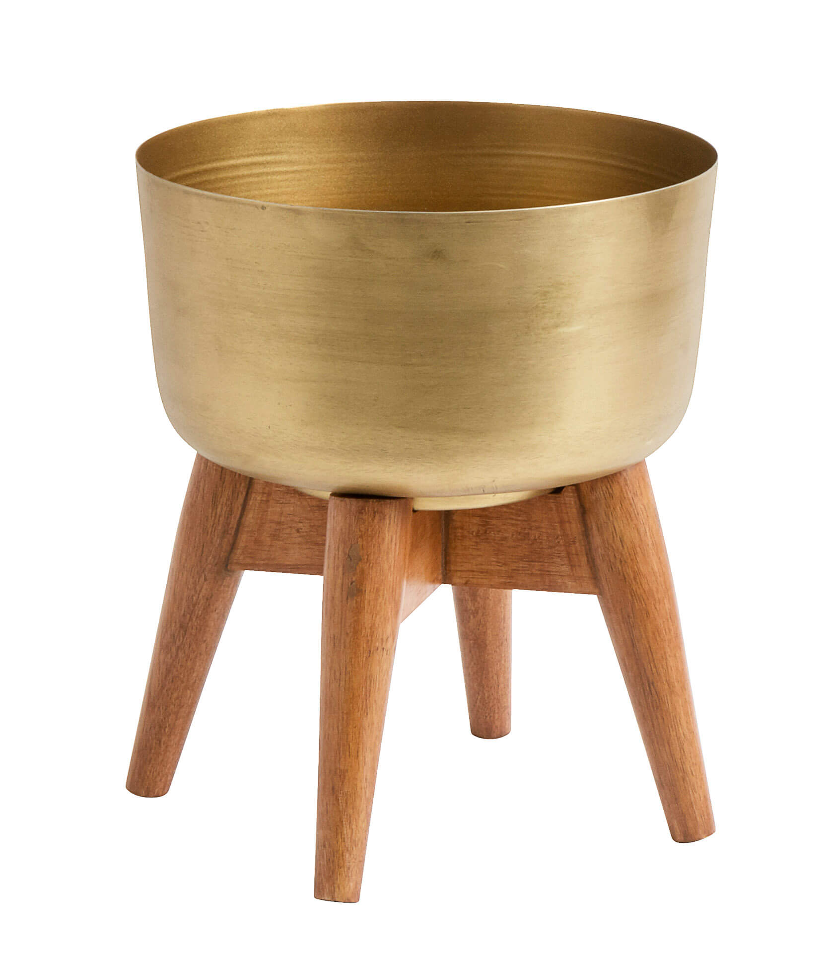 Nordal Planter On Stand Small Brass/Wood
