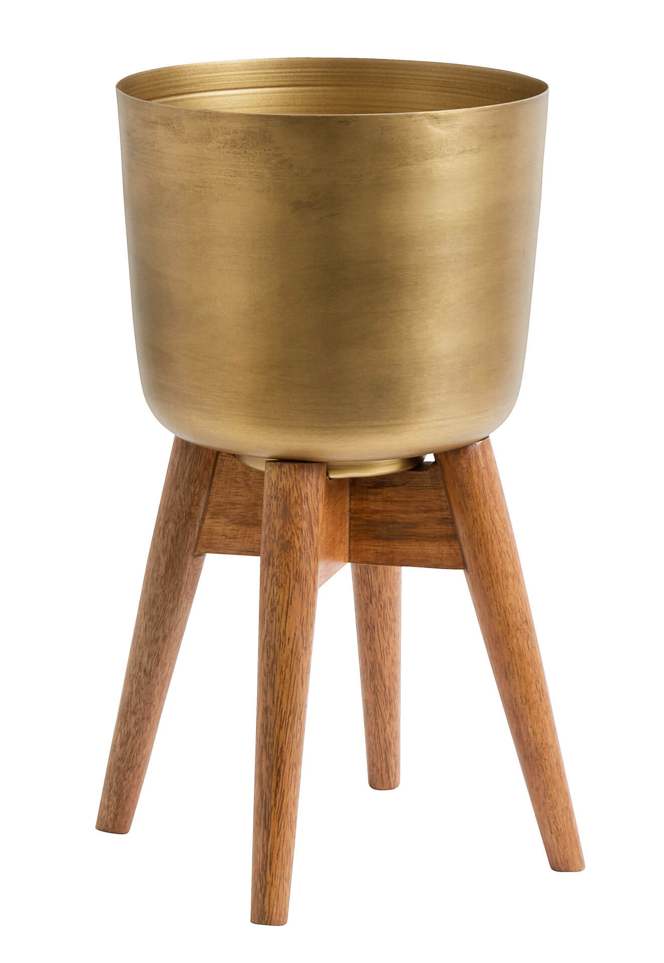 Nordal Planter On Stand Medium Brass/Wood