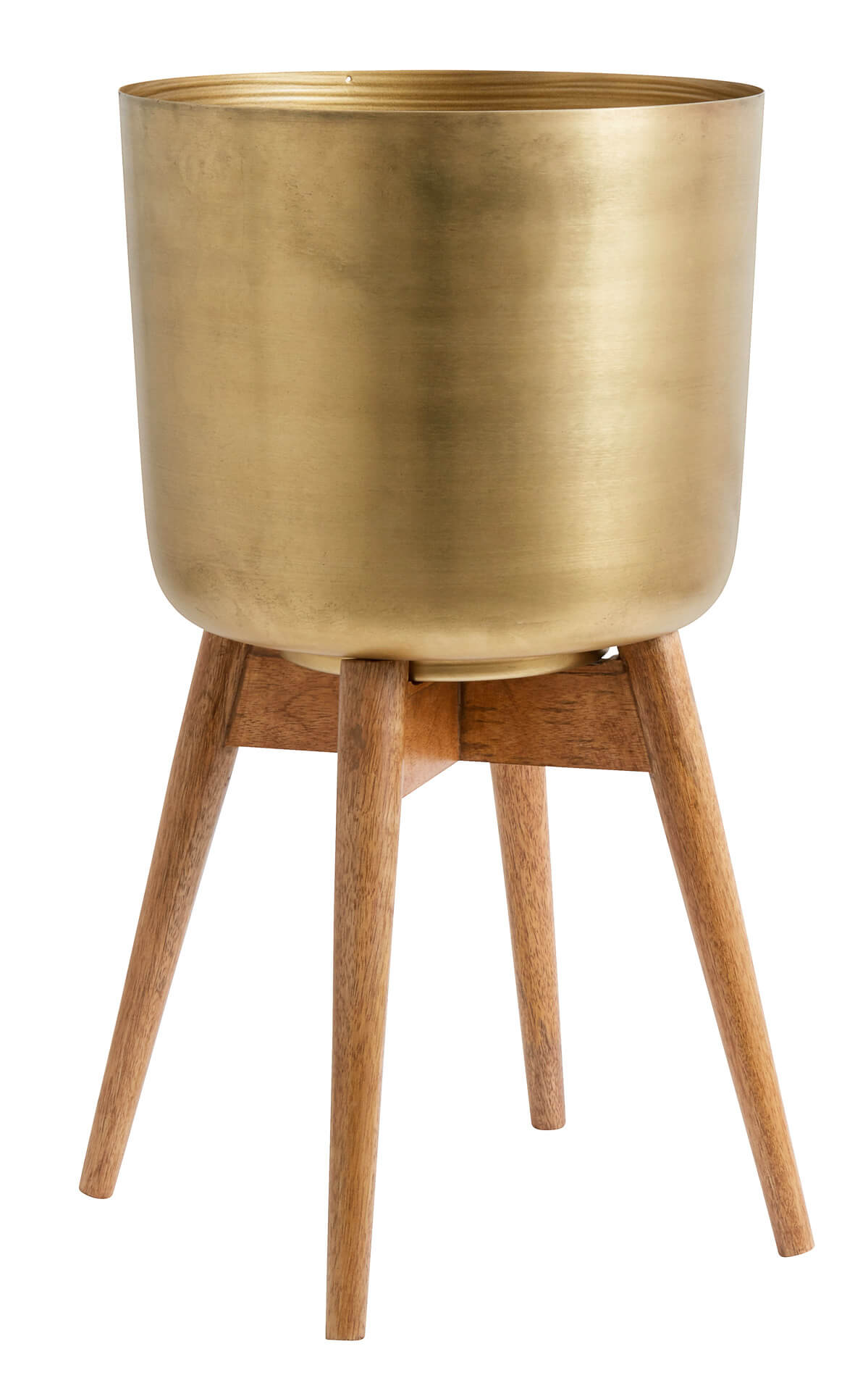 Nordal Planter On Stand Large Brass/Wood