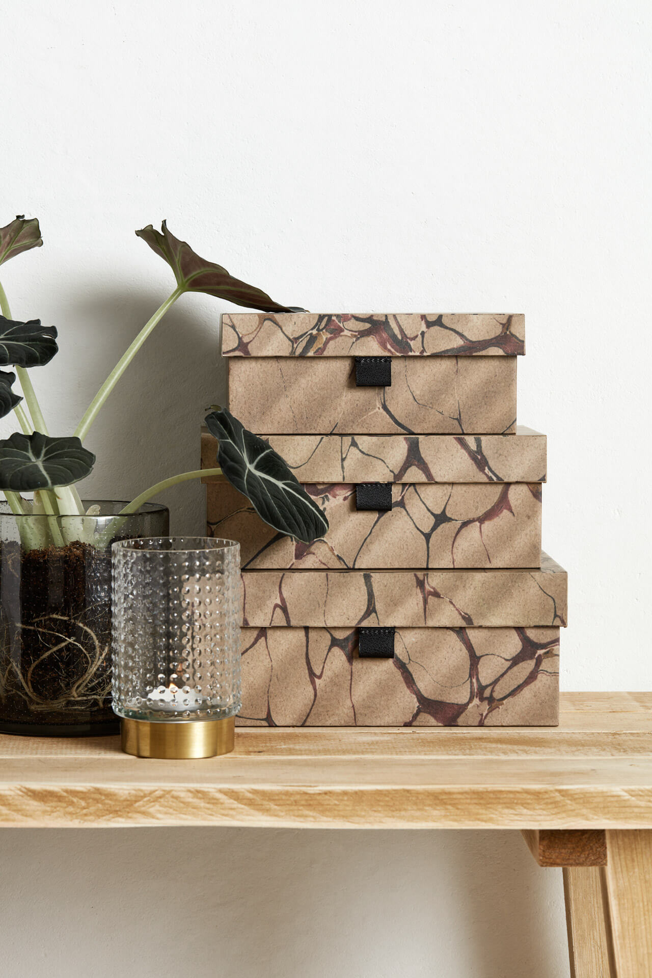 Nordal Storage Boxes Brown Mosaic - set of 3