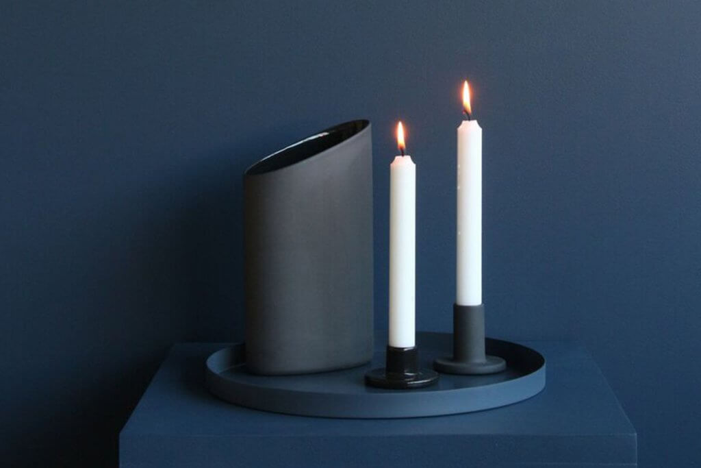 Cooee Design Ceramic Candlestick Black - set of 2