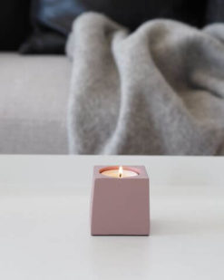 Coming Home Dusty Rose Cube Tea Light Holder