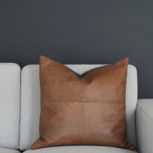 Coming Home Crunch Cushion Cover Tan Leather
