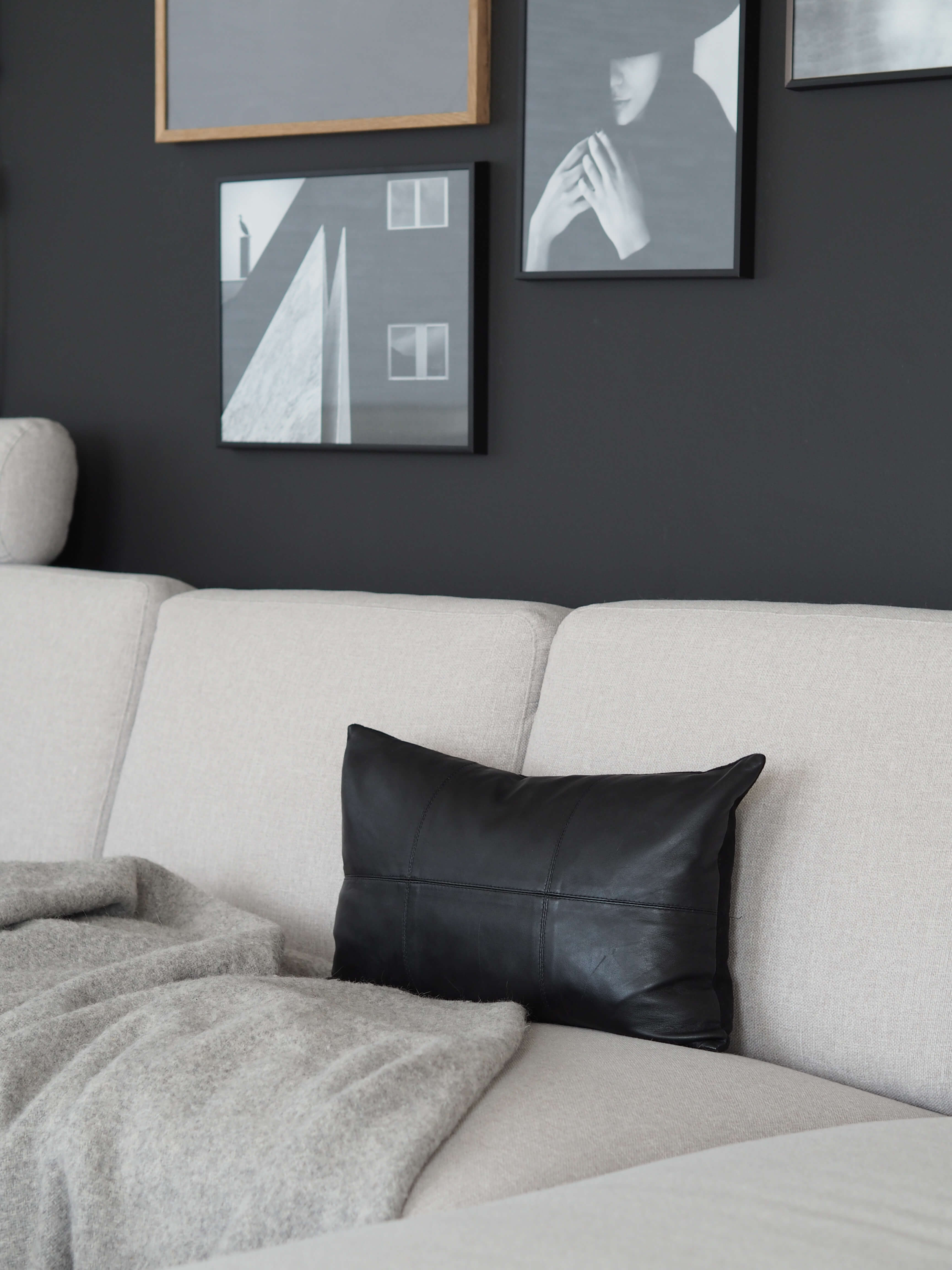 Coming Home Nappa Cushion Cover Black Leather