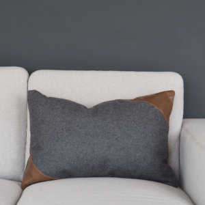 Coming Home Trif Cushion Cover Dark Grey Felt w/Tan Leather