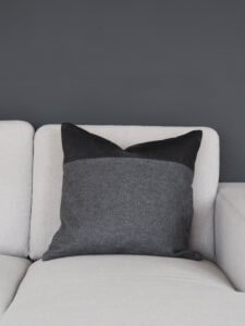 Coming Home Trif Cushion Cover Dark Grey Felt w/Black Leather