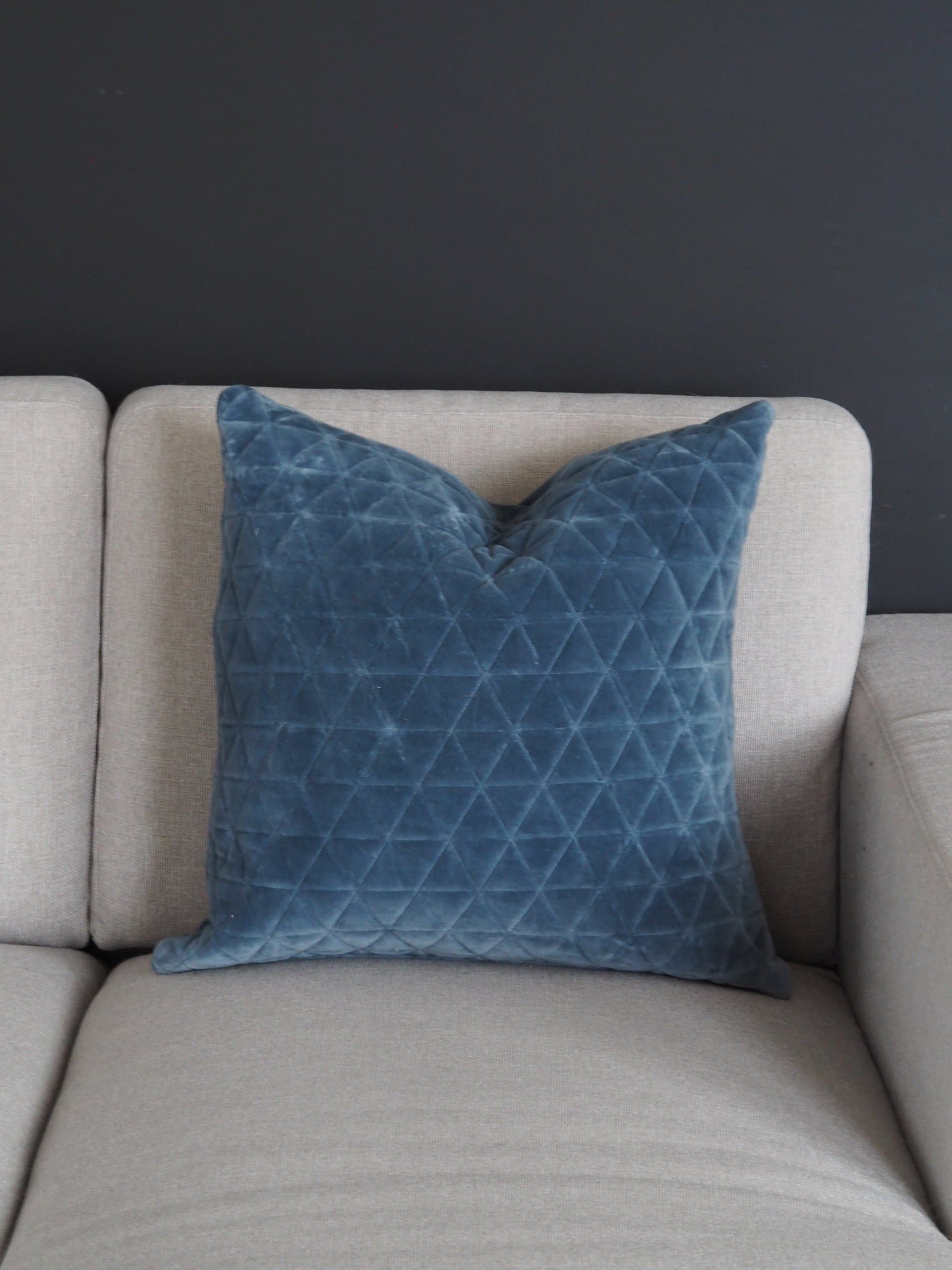 Coming Home Dove Velvet Cushion Cover Blue Westholme Interiors